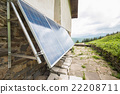 Solar panels on apline hut 22208711