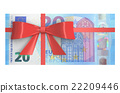 Wad of 20 Euro banknotes with red bow 22209446