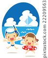 Summer vacation enjoyable swimming in the sea 22209563