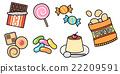 과자의 일러스트 세트 소재 초코 쿠키 캔디 포테 푸딩 흰색 배경 · 배경 투명 png 22209591