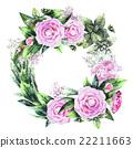 Watercolor  camellia wreath  22211663