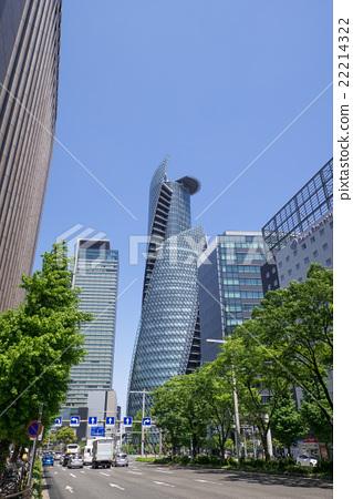 在Sasashima大廈前面的名古屋站前Sasajima交叉點日本人壽保險附近的名古屋市風景 22214322