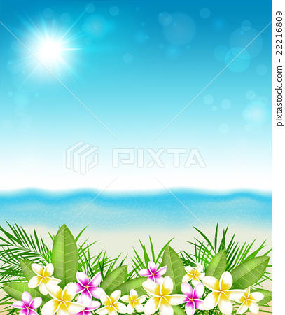 Tropical flowers and beach. 22216809