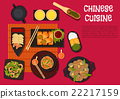 Spicy dinner with north chinese cuisine dishes 22217159