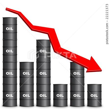 Oil Barrels Arranged In Bar Graph Form, Down Trend 22221373