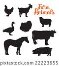 diverse collection of farm animals, black contour 22223955