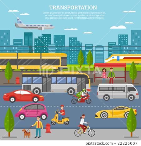 Stock Illustration: Transport In City Poster
