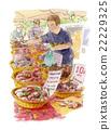 水彩 水彩畫 菜市場 22229325