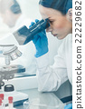 Skillful female chemist is working in laboratory 22229682