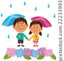 梅雨_男の子と女の子 アジサイ 22233993
