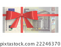 5 Euro banknotes with red bow, gift concept 22246370