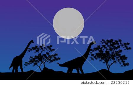 Silhouette of brachiosaurus at the night 22256213