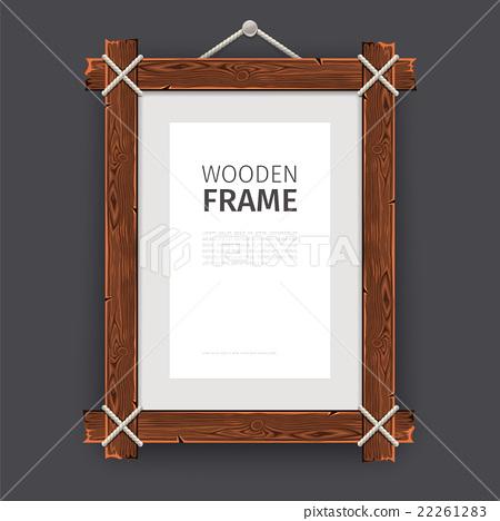 Old Wooden Rectangle Frame 22261283