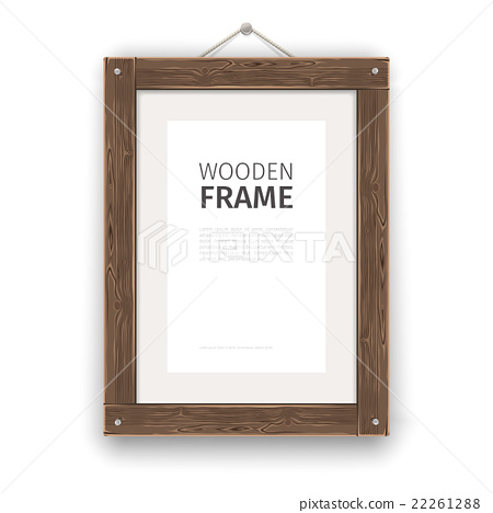 Old Wooden Rectangle Frame Light 22261288