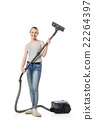 Smiling woman with vacuum-cleaner isolated 22264397