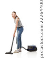 Smiling woman with vacuum-cleaner isolated 22264400