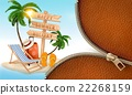Summer vacation background with a zipper. Vector. 22268159