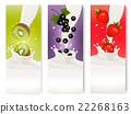 Three fruit and milk labels. Vector. 22268163