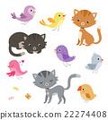 Funny cartoon cats and birds set. 22274408