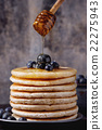 Pancakes with fresh blueberries 22275943