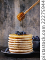 Pancakes with fresh blueberries 22275944