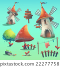 Set of isolated vector elements with windmill 22277758