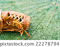 스포츠 이미지, 잔디밭에있는 야구 글러브 22278794