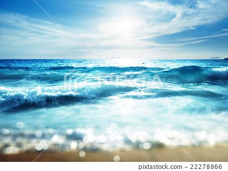 beach in sunset time, tilt shift effect 22278866