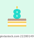 Vector tiramisu birthday cake with a candle 22280149