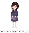 Sleepy girl in pajamas. Cute cartoon character 22281227