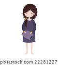 Sleepy girl in pajamas. Cute cartoon character 22281227