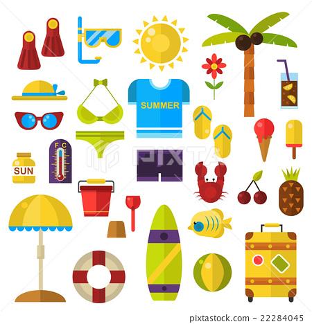 Summer symbols vector icons. 22284045