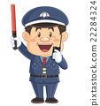 Cute illustrator of a security guard who is organizing traffic with a guide rod | Iwata Masayoshi 22284324