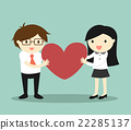 Businessman and business woman holding red heart 22285137