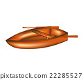 Wooden rowing boat isolated on white background 22285527
