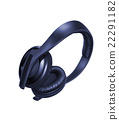 Black Pair of Headphones Isolated 22291182