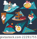 Illustration with set of summer vacation images 22291755