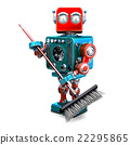 Robot cleaner with a broom. 3D illustration 22295865