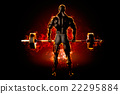Flaming athlete with a barbell. Back view. 3d 22295884