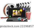 4K laptop, popcorn and film strip 22296857