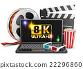 8K laptop, popcorn and film strip 22296860