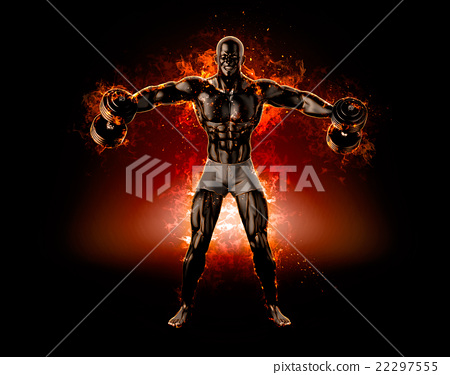 Muscular bodybuilder with dumbbells 22297555