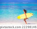 Happy shapely surf woman at white beach with 22298146