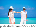 Young happy couple during beach tropical vacation 22299322