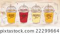 Poster set of juice retro 22299664