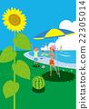 父母和小孩 暑假 海水浴 22305014