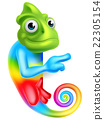 Cartoon Rainbow Chameleon Pointing 22305154