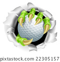 Claw with Golf Ball Breaking out Of Background 22305157