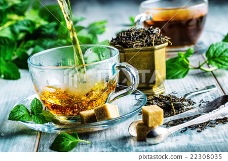 Tea. Mint Tea. Herbal tea. Mint leaf. Mint leaves. 22308035