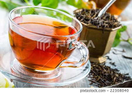 Stock Photo: Tea. Mint Tea. Herbal tea. Mint leaf. Mint leaves.